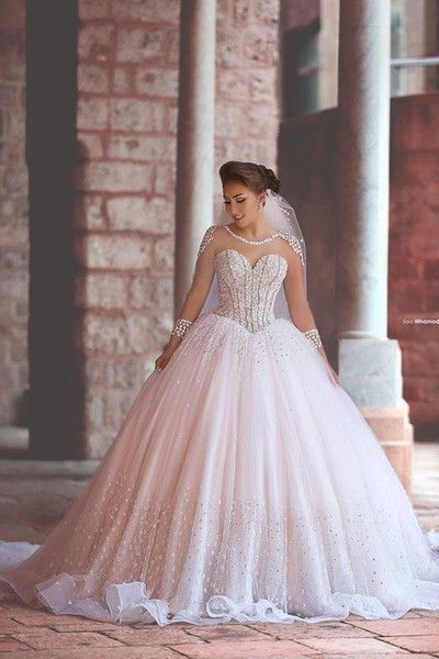 Gorgeous Ball Gown,Beaded Long Sleeve Prom Dresses,Fashion Bridal Dress,Sexy Party Dress,Custom Made Evening Dress
