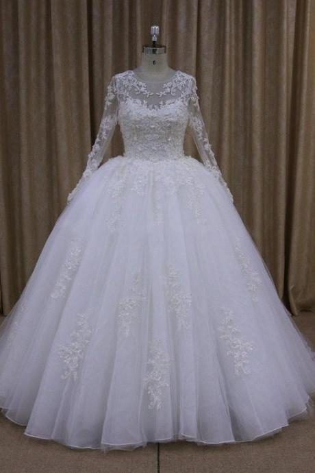 sheer long sleeves white organza ball gown wedding dresses lace appliques