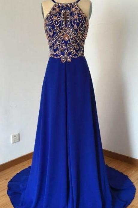 Halter Prom Dress,Beaded Prom Dresses,Fashion Prom Dress,Sexy Party Dress,Custom Made Evening Dress