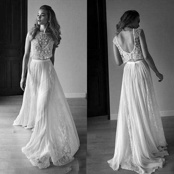 New Arrival Bateau Open Back Floor-Length Wedding Dress with Lace