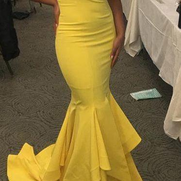 Yellow Prom Dress,Sexy Prom Dresses,Mermaid Evening Dress,Long Evening Dresses,Formal Gown