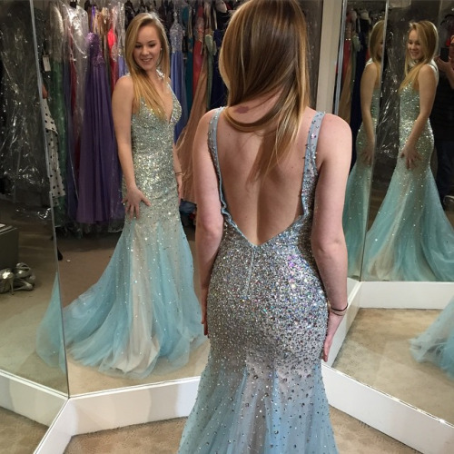 Sparkly Bling Bling Prom Dress,Luxury Crystal and Beaded Mermaid Prom Dresses,Long Backless Prom Dress