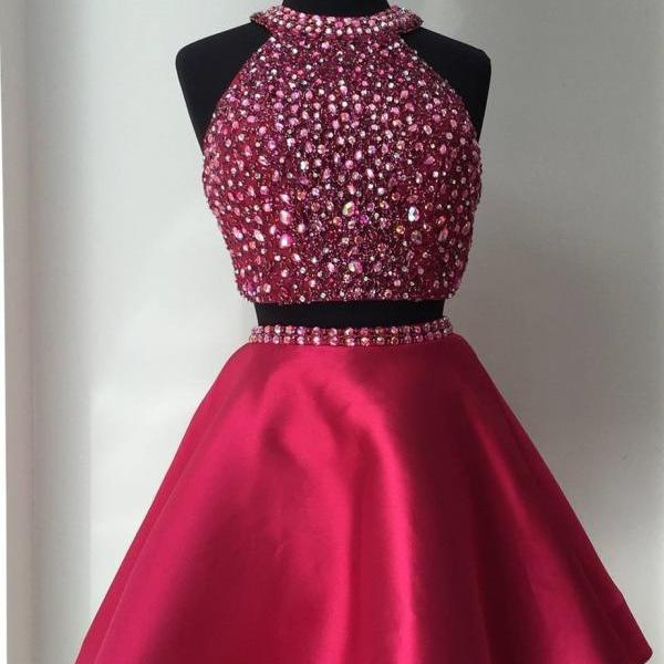 Sleeveless Prom Dress,Beaded Prom Dresses, Two Piece Prom Dress,Elegant Prom Dress,Short Prom Gown