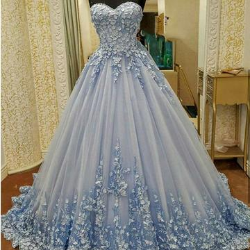 Gentle Applique Prom Dress, Tulle Evening Dress, Sweetheart Long Prom Dress