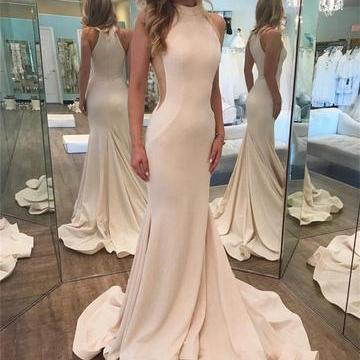 Ivory Halter Prom Dress, High Neck Mermaid Evening Gowns, Simple Long Prom Dress