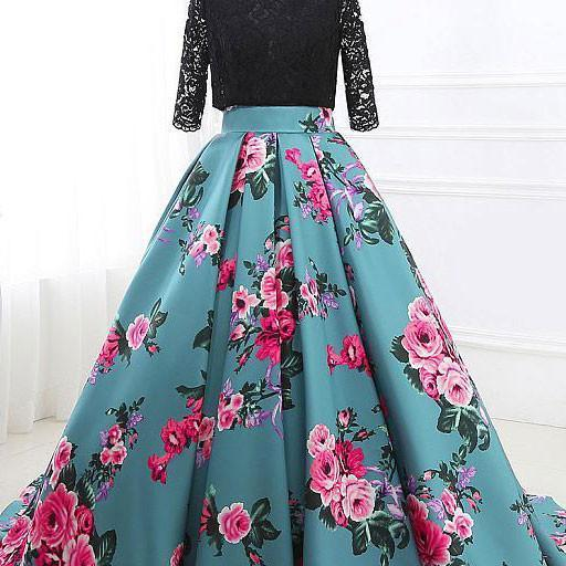 UNIQUE ROUND NECK PROM DRESS, LACE SATIN PROM DRESS, FLORAL PRINTED LONG PROM DRESS