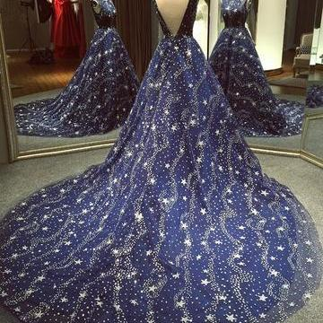 Chic Ball Gown Dark Navy Scoop Sweep Train Tulle Modest Rhinestone Long Prom Dresses