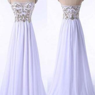 Strapless Prom Dress, Chiffon Prom Dress, Beading Long Prom Dresses,Simple Evening Dress