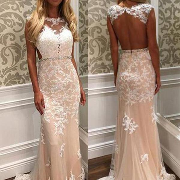 Champagne Lace Prom Dress, Cap Sleeve Prom Dress, Open Back Prom dress, Floor Length Prom Dress, Elegant Long Prom Dress