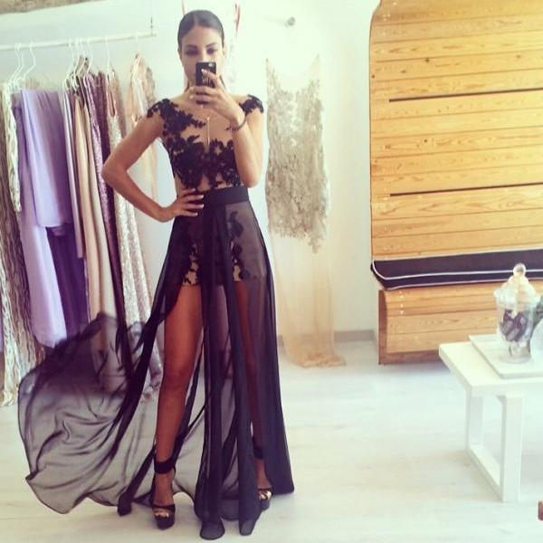Black Lace Prom Dress, Cap Sleeves Appliques Prom Dress, Sheer Bodice Prom Dress, Chiffon Long Prom Dress