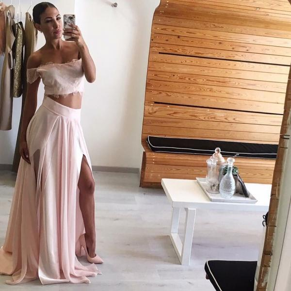 Lace Off Shoulder Prom Dress, Two Piece Chiffon Prom Party Dress, Long Slit Side Prom Dress