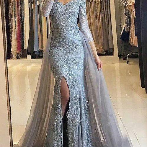 Sheath Prom Dresses,Off-the-Shoulder Prom Dresses,Detachable Train Prom Dresses,Grey Prom Dresses,Tulle Prom Dresses,Beading Prom Dresses,Prom Dresses,Long Sleeves Prom Dresses