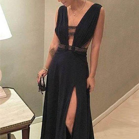Black Sexy Prom Dress, Side Split Simple Prom Dress, V-neck Long Party Dress