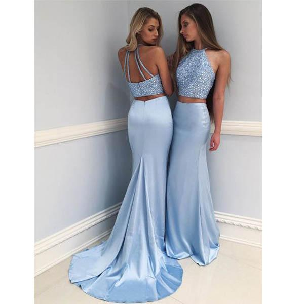 Blue Halter Prom Dress, Mermaid Sexy Party Dress, Two Pieces Long Evening Dress