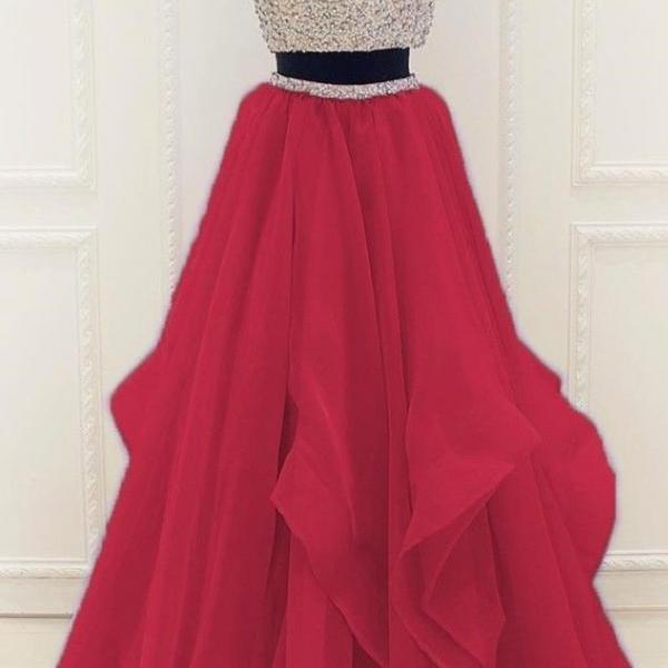 Two Piece Prom Dress, Beading Long Prom Dress, Elegant Round Neck Party Dress 51466