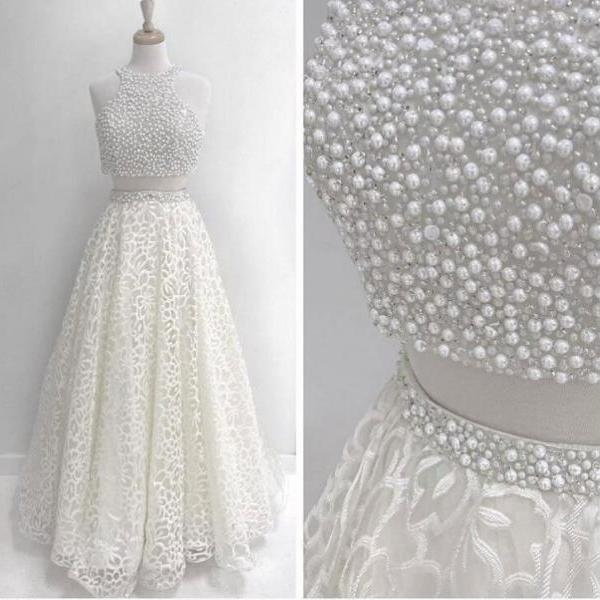 Sexy Two Piece White Prom Dresses with Pearls