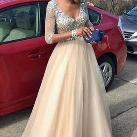 sexy half sleeve champagne prom dresses,sexy long tulle evening dresses ,Cheap Tulle Prom Dress, formal prom dresses,dresses party evening,formal dresses evening,new arrival formal dresses,elegant long evening dresses,,girls party dress, sexy prom Dresses