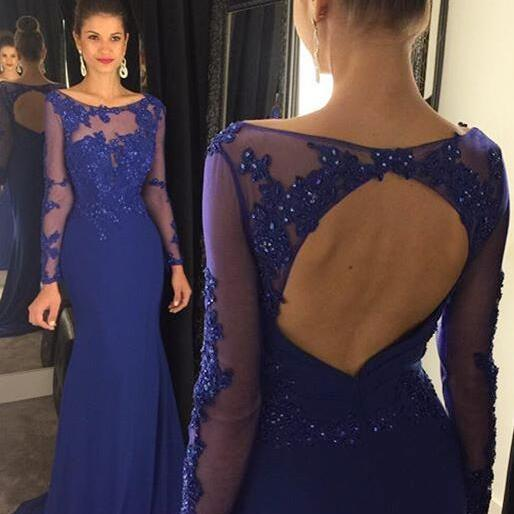 Long Prom Dresses,Royal Chiffon Prom Dresses,Mermaid Party Dresses,Long Sleeves Formal Gowns,Evening Dresses for Women,Prom Dresses,Long Sleeves Prom Dresses,Open Back Prom Dresses,girls party dress, sexy prom Dresses