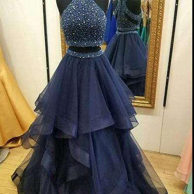 Charming Navy Blue Prom Dress,Two Piece Prom Dresses,Ball Gown Prom Dress,Long Party Dresses, 2 Piece Prom Dress, Beading Prom Dress,