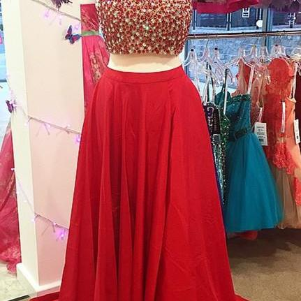 Ulass Sexy A-line Two-piece Beads High-neck Red Long Prom Dress Evening Dress with Side Slit