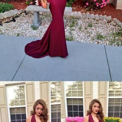 New Fashion Mermaid Prom Dresses V-Neck Backless Prom Dress Dark Burgundy Evening Formal Gowns
