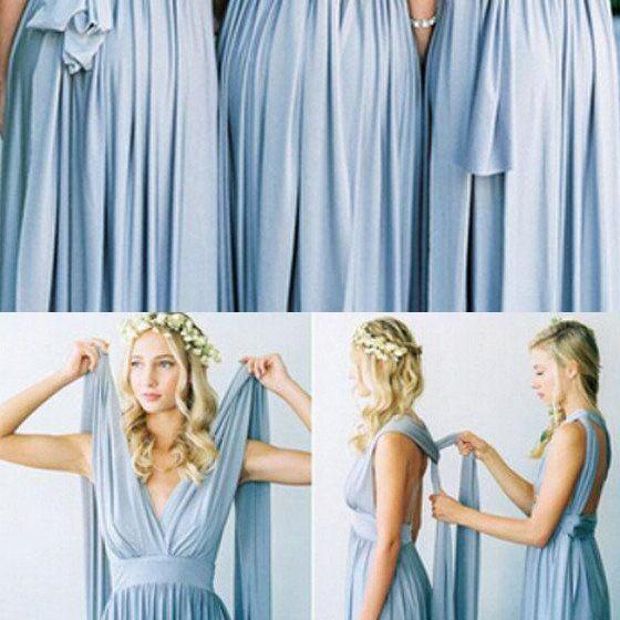 Convertible Simple Blue Jersey Floor-Length Bridesmaid Dress 52247