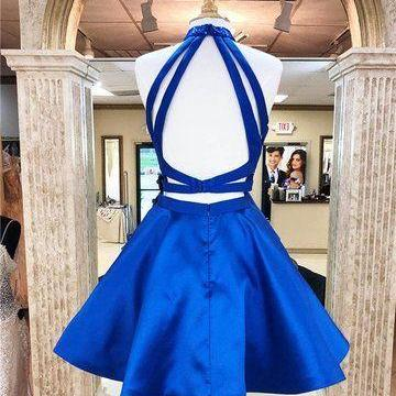 Sparkly Royal Blue Halter Two Piece Homecoming Dresses, Top Beading Open Back Homecoming Dresses