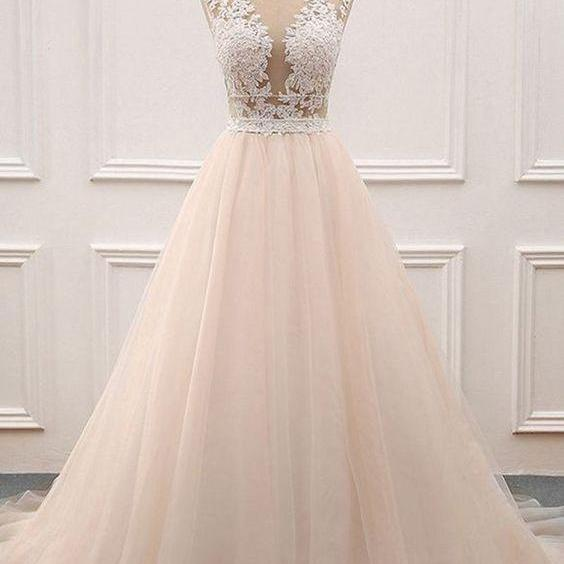 CHAMPAGNE TULLE LACE LONG PROM DRESS
