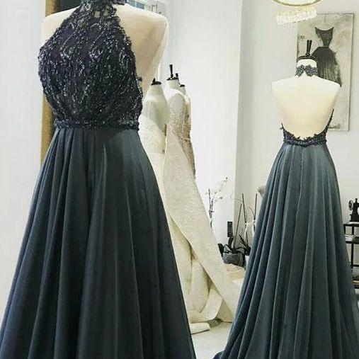 Grey Halter Lace Beaded Long Prom Dresses Backless Evening Dresses