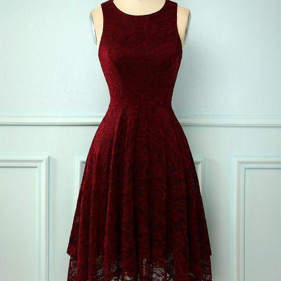 Burgundy Short Formal Lace Homecoming Dress