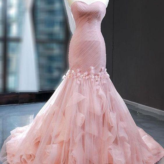 Strapless Pink Mermaid Formal Evening Dress
