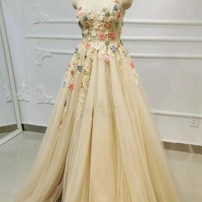 Champagne Tulle Lace One Shoulder Long Prom Dress With Applique