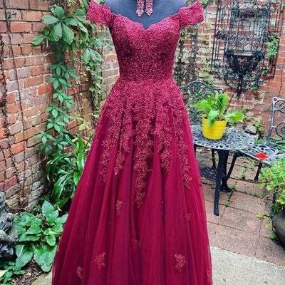 Burgundy Tulle Lace Off Shoulder Long V Neck Prom Dress