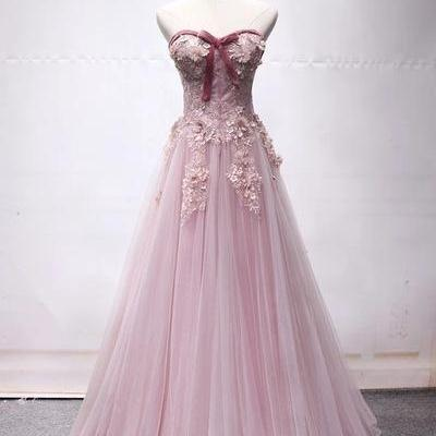 Sweetheart Pink Tulle Long Strapless A Line Prom Dress