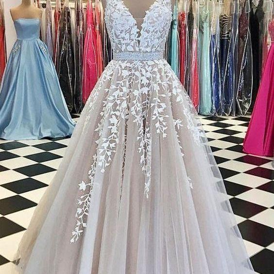 A-Line V-Neck Appliques Open Back Ivory Sleeveless Beads Evening Prom Dresses