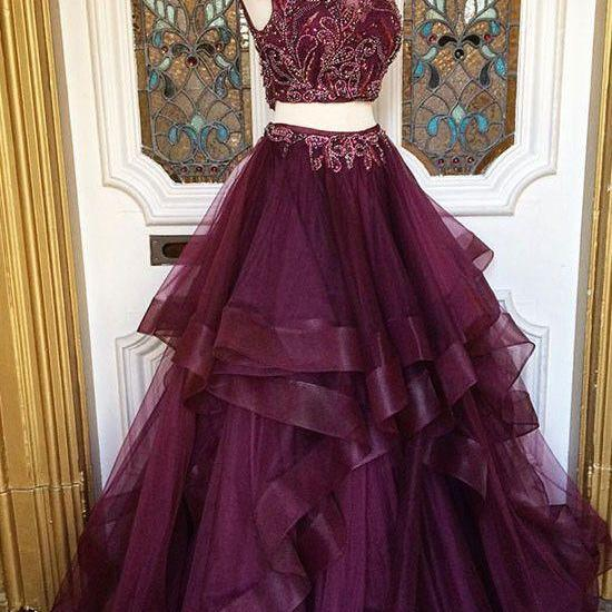 Two pieces sequin tulle prom dress, long evening dress