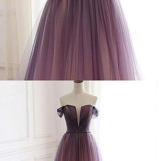 Off the Shoulder Ruched Tulle Ombre Prom Dress