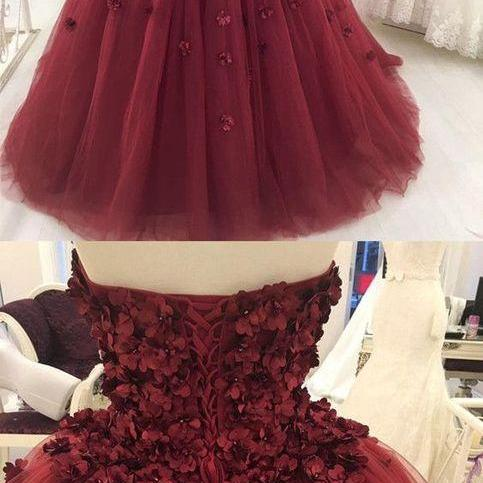 Sweetheart tulle long prom dress with appliques