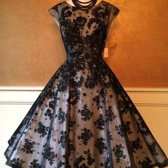 Black organza applique round neck homecoming dresses,formal dresses