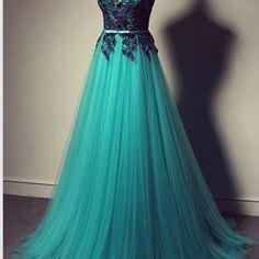 Custom Made A Line Round Neck Long Lace Prom Dresses