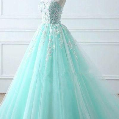 Charming Appliques Tulle Long Evening Dress, Elegant Prom Dress