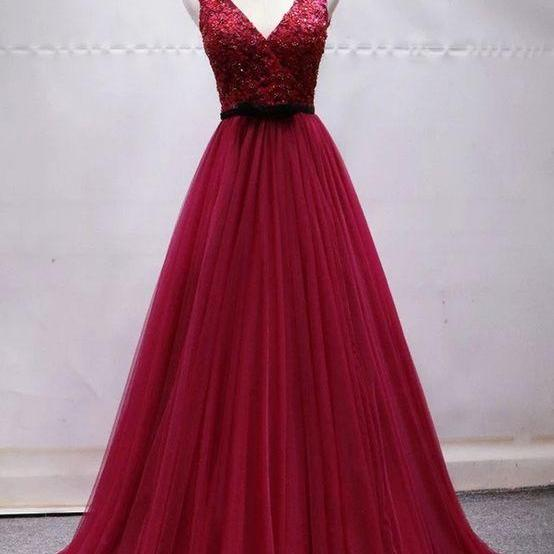 Wine red Tulle Lace Sequins V Neck Long Prom Dress