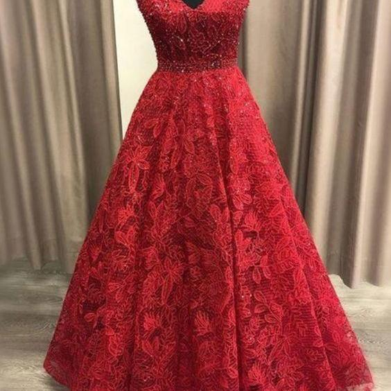 Charming Red V-Neck Lace Beaded Prom Dresses,A-Line Sleeveless Evening Party Gowns