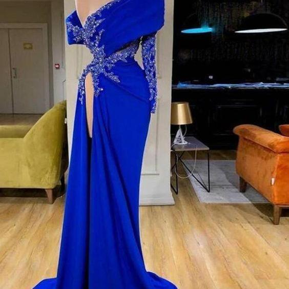 Royal Blue Mermaid Evening Dresses Stain One Shoulder Lace Beaded Applique High Side Split