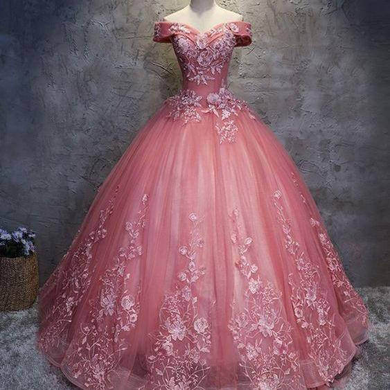 Ball Gown Off-the-Shoulder Floor-Length Pink Prom Dress With Appliques