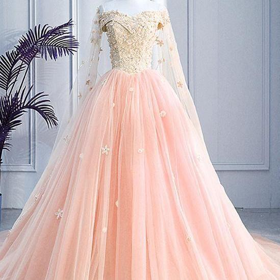 Pink Off Shoulder Tulle With Flowers Ball Gown Sweet 16 Dress