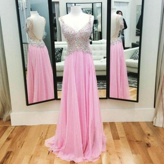 Cute Prom Dress, Sweetheart Prom Dress,Sleeveless Prom Dress, Crystal Prom Dress,Backless Evening Gown