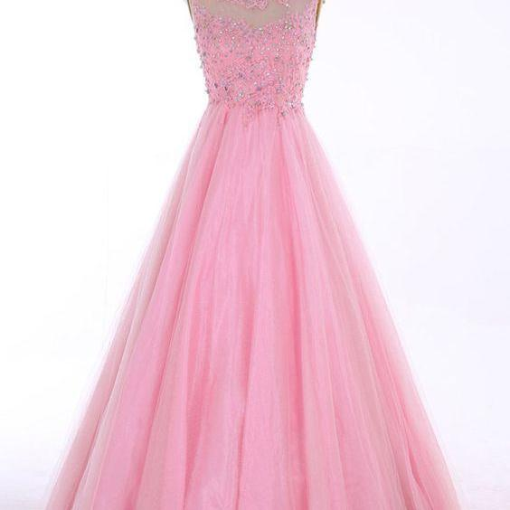 Scoop Floor-length Backless Pink Prom Dress With Beading Appliques