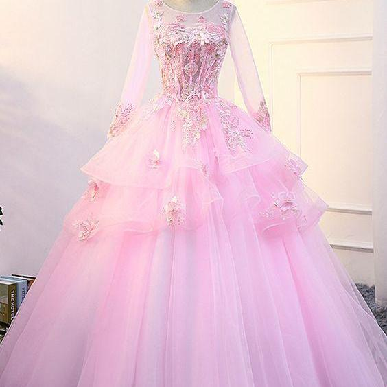 Pink Long Sleeve Quinceanera Dresses