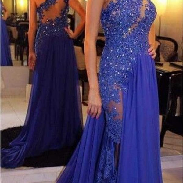 Beaded Prom Dress,Applique Prom Dress,One Shoulder Prom Dress,Fashion Prom Dress,Sexy Party Dress, 2017 New Evening Dress